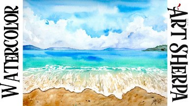 Blue Sky Sand and Waves Easy How to Paint Watercolor Step by step | The Art Sherpa