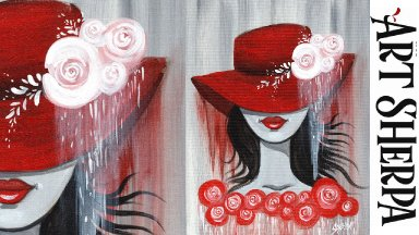 RED FLOPPY HAT RED ROSES GIRL Beginners Acrylic Painting Tutorial Step by Step