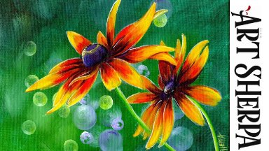 FALL DAISY FLORAL Beginners Learn to paint Acrylic Tutorial Step by Step