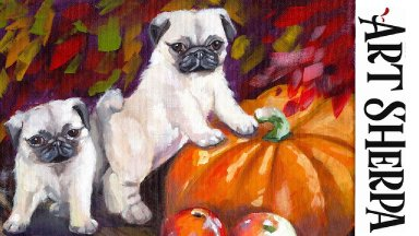 AUTUMN PUMPKIN AND PUGS BAQ  Beginners Learn to paint Acrylic Tutorial Step by Step