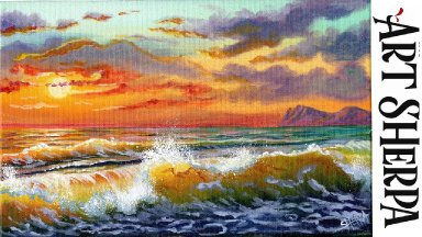 GOLD SUNSET WAVES Beginners Learn to paint Acrylic Tutorial Step by Step