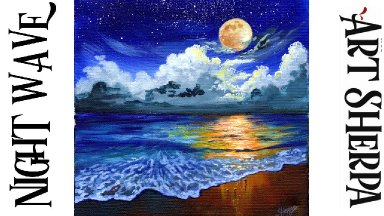 NIGHT WAVES Beginners Learn to paint Acrylic Tutorial Step by Step