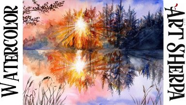 Moody Lake Easy How to Paint Watercolor Step by step | The Art Sherpa