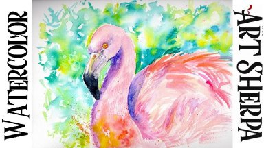 Flamingo In Pink Easy How to Paint Watercolor Step by step | The Art Sherpa