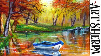 AUTUMN LAKE BOAT Beginners Learn to paint Acrylic Tutorial Step by Step