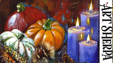 FALL CANDLE Beginners Learn to paint Acrylic Tutorial Step by Step