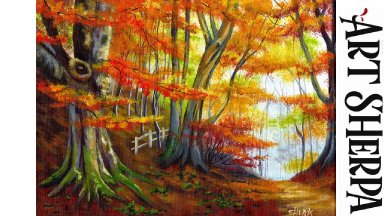 MISTY AUTUMN FOREST Beginners Learn to paint Acrylic Tutorial Step by Step