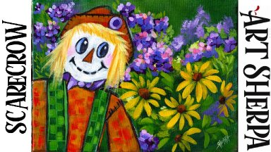 CUTE SCARECROW FALL GARDEN  Beginners Learn to paint Acrylic Tutorial Step by Step