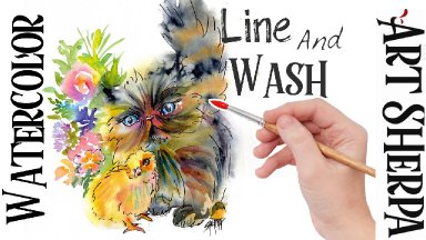 Line and Wash Kitten and Baby Chick Easy How to Paint Watercolor Step by step | The Art Sherpa