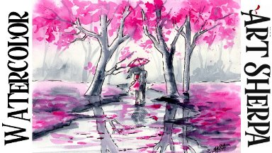 Easy How to Draw and Paint Couple Walking in the Rain Watercolor Line and Wash The Art Sherpa
