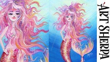 MERMAID Beginners Learn to paint Acrylic Tutorial Step by Step