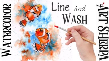 CLOWNFISH  Easy How to Paint Watercolor Step by step | The Art Sherpa