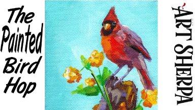 RED CARDINAL BIRD   Beginners Acrylic Tutorial Step by Step   The Painted Bird Hop