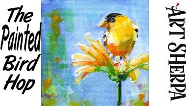 YELLOW BIRD ON FLOWER   Beginners Acrylic Tutorial Step by Step   The Painted Bird Hop