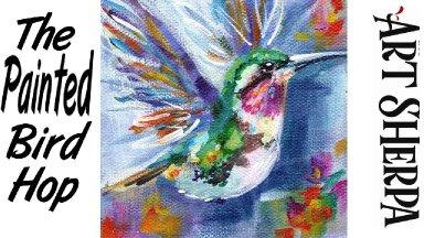 HUMMINGBIRD IN FLIGHT   Beginners Acrylic Tutorial Step by Step   The Painted Bird Hop