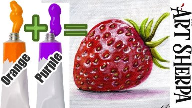 Paint a Red Strawberry WITHOUT Red Paint - Color Mixing technique that you won't believe