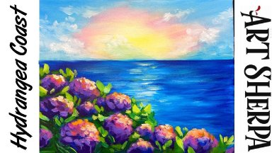 EASY HYDRANGEA OCEAN VIEW Beginners Learn to paint Acrylic Tutorial Step by Step