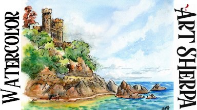 Castle on the Sea LINE AND WASH Easy How to Paint Watercolor Step by step | The Art Sherpa