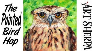 EASY GRUMPY OWL   Beginners Acrylic Tutorial Step by Step   The Painted Bird Hop
