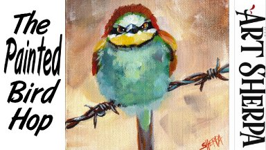 ANGRY BIRD ON BARBED WIRE    Beginners Acrylic Tutorial Step by Step   The Painted Bird Hop