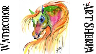 COLORFUL HORSE Easy How to Paint Watercolor Step by step | The Art Sherpa