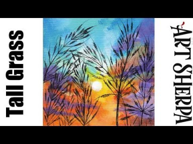 Colorful Sunset with Grass Beginners Learn to paint Acrylic Tutorial Step by Step