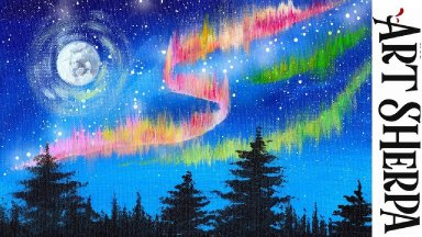 EASY NORTHERN LIGHTS  Beginners Learn to paint Acrylic Tutorial Step by Step