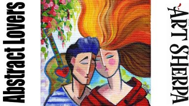 ABSTRACT COUPLE LOVERS ROMANCE Beginners Learn to paint Acrylic Tutorial Step by Step