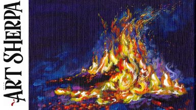 Learn to paint Acrylic Twilight Campfire  Tutorial Step by Step