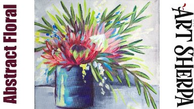 ABSTRACT FLOWERS LEFTOVER PAINT Beginners Learn to paint Acrylic Tutorial Step by Step
