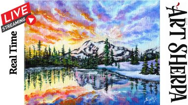 SUNSET LAKE SNOWY MOUNTAIN Beginners Learn to paint Acrylic Tutorial Step by Step