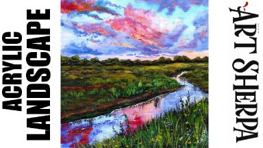 SUNSET STREAM LANDSCAPE Beginners Learn to paint Acrylic Tutorial Step by Step