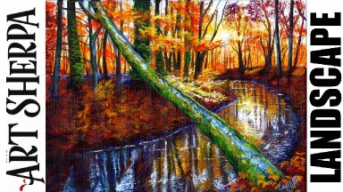Autumn Forest Sunset Stream Fallen Tree Beginners Learn to paint Acrylic Tutorial Step by Step