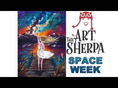 Acrylic Painting tutorial Galaxy Mountain Lake Landscape #spaceweek