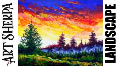 Sunset Misty Landscape Trees Beginners Learn to paint Acrylic Tutorial Step by Step