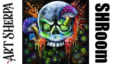 Mushrooms and Skull Spooky Magic Beginners Learn to paint Acrylic Tutorial Step by Step