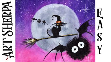 Witch cat on a Broom acrylic painting Beginners Learn to paint Acrylic Tutorial Step by Step