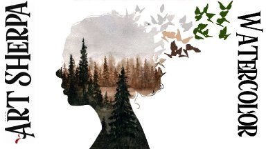 Girl Silhouette with Tree landscape   Easy How to Paint Watercolor Step by step | The Art Sherpa
