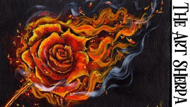BURNING ROSE IN FLAMES  Beginners Learn to paint Acrylic Tutorial Step by Step