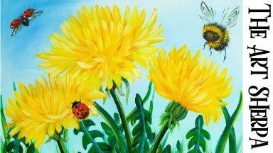 Acrylic Tutorial Step by Step Dandelion flower Ladybug Bumblebee painting | The Art Sherpa