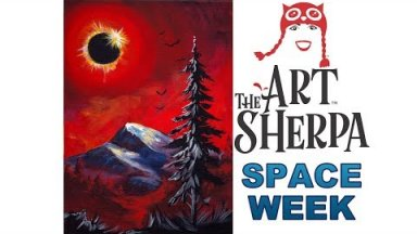 How to Paint with Acrylic Mountain and Pine tree Eclipse in Red #spaceweek