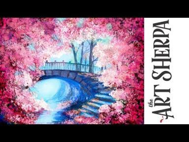 Cherry Tree Bridge How To Paint With Acrylic On Canvas