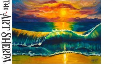 How to paint a Tropical beach Wave at Sunset Beginner Acrylic Painting