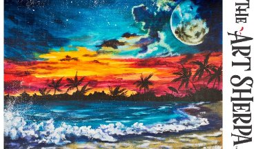 Night Sky Waves And Beach Acrylic Painting Landscape