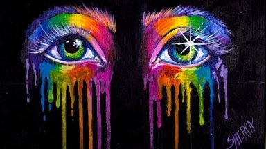 AMAZING Rainbow Drippy Realistic Eyes Acrylic Painting Tutorial 🌈🎨🌈 Aboutface  #13