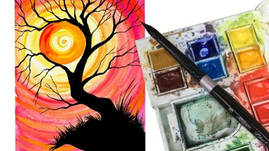 Simple Watercolor Sunset Tree Holding The Sun Step By Step