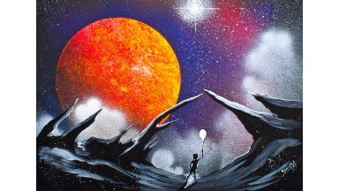 Scape With Galaxy Space Planet Acrylic Beginning Painting