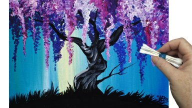 Videos Wisteria Willow Tree Q Tip Painting Technique For BEGINNERS EASY Acrylic