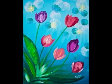 tulips beginner easy acrylic painting tutorial the art sherpa