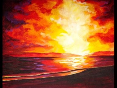 Sunset At The Beach Beginners Acrylic Step By Step The Art Sherpa